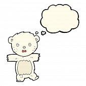 stock photo of bear cub  - cartoon shocked polar bear cub with thought bubble - JPG
