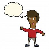 foto of sticking out tongue  - cartoon man sticking out tongue with thought bubble - JPG