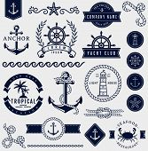 Sea And Nautical Design Elements. Vector Set. poster