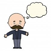 foto of bald man  - cartoon bald man with open arms with thought bubble - JPG