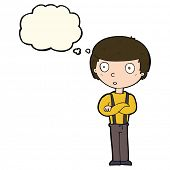 foto of stare  - cartoon staring boy with folded arms with thought bubble - JPG