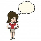 picture of annoyance  - cartoon annoyed woman with hands on hips with thought bubble - JPG