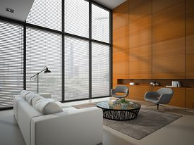 picture of louvers  - Interior of the room with wooden panel wall 3D rendering  - JPG