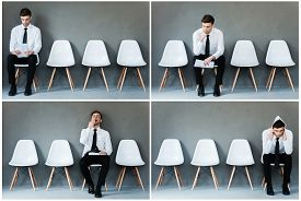 stock photo of emotion  - Collage of young businessman in shirt and tie expressing different emotions while sitting on the chair and waiting for interview - JPG