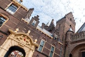 picture of prime-minister  - Entrance gate of the Binnenhof in The Hague the seat of the Dutch parliament tilted - JPG