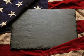 image of memorial  - Old American flag background for Memorial Day or 4th of July - JPG