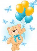 picture of teddy-bear  - Boy Teddy Bear Hanging from a Balloons - JPG