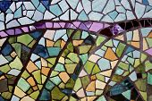 stock photo of stained glass  - stained glass mosaic makes a colored background - JPG