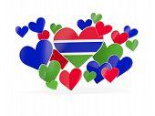Постер, плакат: Flag Of Gambia Heart Shaped Stickers