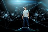 3d technology, virtual reality, entertainment, cyberspace and people concept - happy young man with  poster