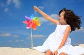 stock photo of young girls  - Happy girl on beach - JPG