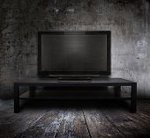 old tv in grunge interior