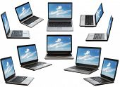 stock photo of computer-screen  - laptop on white background with clipping path - JPG