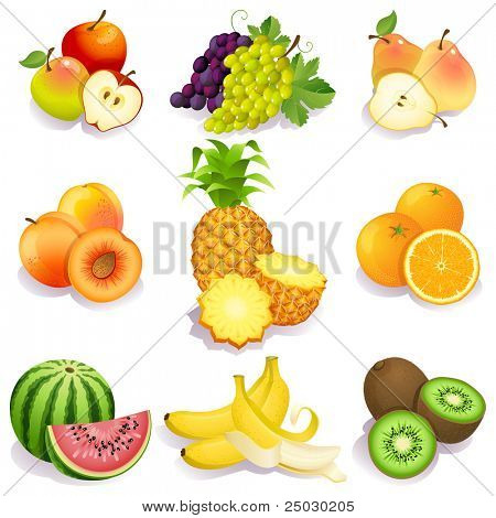 Постер, плакат: Вектор иллюстрация набор иконок фрукты, холст на подрамнике