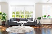 Modern living room interior 3d rendering. Contemporary design concept poster