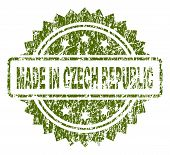 Made In Czech Republic Stamp Seal Watermark With Dirty Style. Green Vector Rubber Print Of Made In C poster