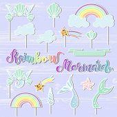 Постер, плакат: Vector Set With Handwritten Lettering Mermaid Rainbow Seashell Crown Tails Cloud Star Mermaid