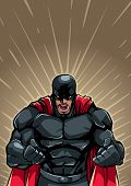 Illustration Of Raging Superhero With Clenched Fists Ready For Battle. poster