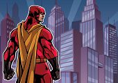 Comics Style Illustration Of Powerful Superhero Standing On Cityscape Background. poster