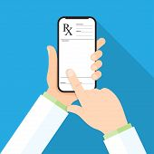 Doctors Hand Holding A Smartphone With Rx Prescription On A Display poster