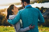Beautiful Couple Jogging In Nature Living Healthy poster