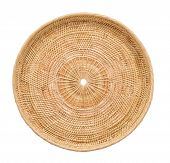 Wood Basket Wicker Wooden In Handmade Top View Isolate On Over White Background poster