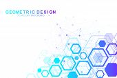 Scientific Molecule Background For Medicine, Science, Technology, Chemistry. Wallpaper Or Banner Wit poster