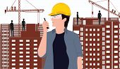 Building Bussiness . Engineer, Master, With Radio - Building, Cranes, Building - Art Vector poster