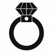 Diamond Ring Icon. Simple Illustration Of Diamond Ring Vector Icon For Web Design Isolated On White  poster