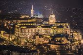 Buda Castle Or Royal Palace In Budapest, Hungary Illuminated At Night poster