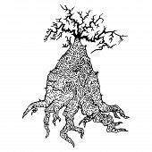 Hand Drawn Tree With Roots. Vector Illustration Of Tree Roots And Driftwood. Terrible Tree With Root poster
