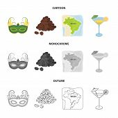 Brazil, Country, Mask, Carnival . Brazil Country Set Collection Icons In Cartoon, Outline, Monochrom poster