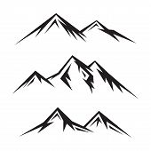 Set Of Abstract Vector Nature Or Outdoor Mountain Silhouette. Mountains And Travel Icons For Tourism poster