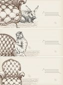 decorative drawing banners- details of furniture and animals