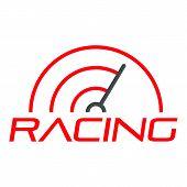 Racing Line Speedometer Logo. Flat Illustration Of Racing Line Speedometer Vector Logo For Web Desig poster