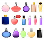 Fragrance Bottles Perfume Mockup Set. Realistic Illustration Of 16 Fragrance Bottles Perfume Mockups poster