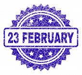 23 February Stamp Watermark With Scratched Style. Blue Vector Rubber Seal Print Of 23 February Title poster