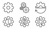 Gears And Cogs Outline Set. Gear Wheels With Arrows. Vector Illustration. poster