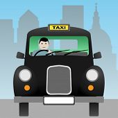 stock photo of hackney  - A Black London Taxi Cab - JPG