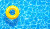 Water Pool Summer Background With Yellow Pool Float Ring. Vector Illustration Of Summer Blue Aqua Te poster