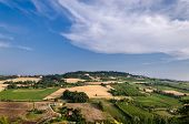 Aerial View Of Landscaped Fields On Italian Countryside poster