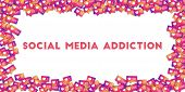 May 01, 2018: Social Media Addiction. Social Media Icons In Abstract Shape Background With Gradient  poster