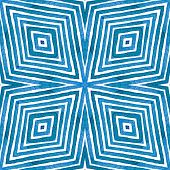 Blue Geometric Watercolor. Alive Seamless Pattern. Hand Drawn Stripes. Brush Texture. Admirable Chev poster