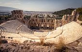 Panoramic View Of The Odeon Of Herodes Atticus At The Acropolis Of Athens, Greece. It Is One Of The  poster