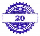 20 Stamp Watermark With Corroded Style. Blue Vector Rubber Seal Print Of 20 Title With Grunge Textur poster