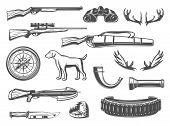Hunter Equipment And Hunt Items For Open Season Or Hunter Club. Vector Hunter Dog, Elk Antlers Carbi poster