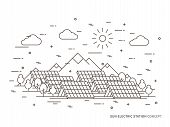 Linear Sun Electric Station, Solar Energy Park, Solar Power Station Vector Illustration. Solar Power poster