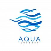 Aqua Logo Design, Corporate Identity Template With Blue Water, Ecology Element For Poster, Banner, C poster