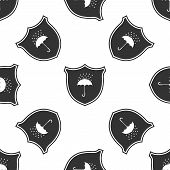 Waterproof Icon Seamless Pattern On White Background. Shield And Umbrella. Water Protection Sign. Wa poster