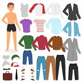 Man Clothing Vector Boy Character Dress Up Clothes With Fashion Pants Or Shoes Illustration Boyish S poster